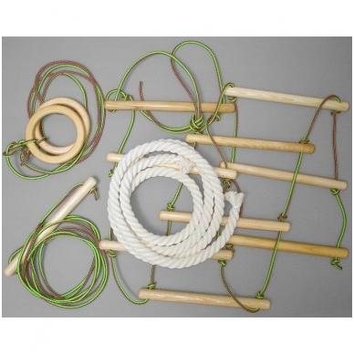 Gimnastikos sienelės virvių komplektas, medinis