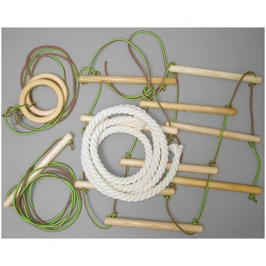 Gimnastikos sienelės virvių komplektas, medinis 2