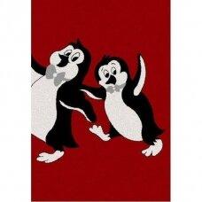 """Kilimas """"Pingvinai"""" raudonas 120x170cm"""