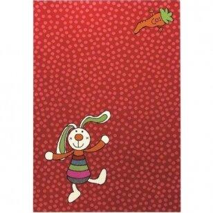"""Kilimas """"Rainbow Rabbit"""" raudonas"""