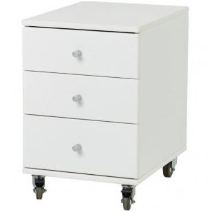 Komodėlė ant ratukų su 3 stalčiais, balta