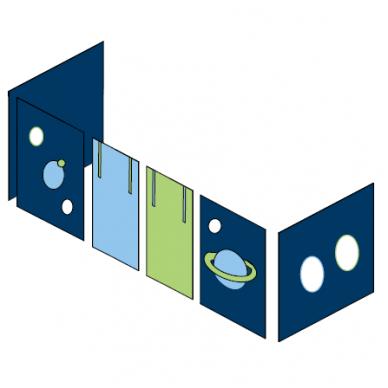 """Modulinė paaukštinta lovytė su užuolaidėlėmis """"Kosmosas Premium"""" 90x200, h-114 cm"""