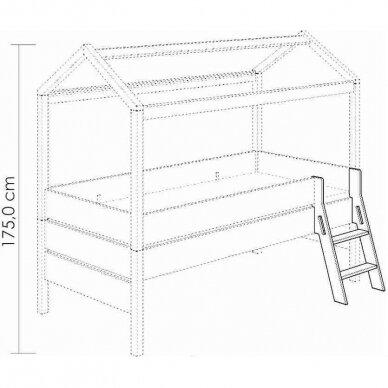 Lova-namas 200x90cm su primontuojamomis sienelėmis bei stogeliu 21