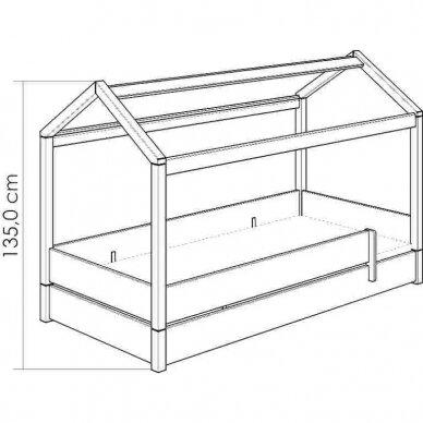 Lova-namas 200x90cm su primontuojamomis sienelėmis bei stogeliu 17