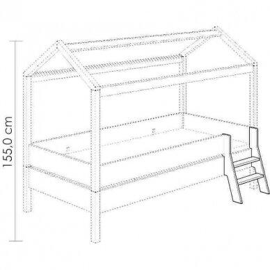 Lova-namas 200x90cm su primontuojamomis sienelėmis bei stogeliu 19