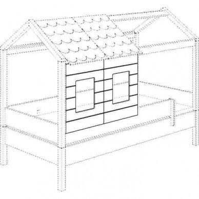 Lova-namas 200x90cm su primontuojamomis sienelėmis bei stogeliu 27