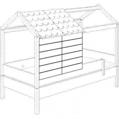 Lova-namas 200x90cm su primontuojamomis sienelėmis bei stogeliu