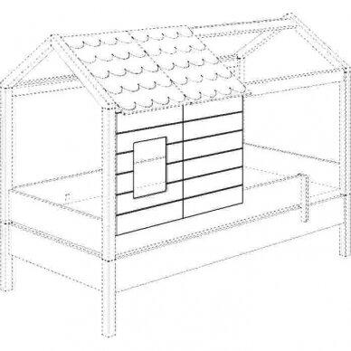 Lova-namas 200x90cm su primontuojamomis sienelėmis bei stogeliu 26