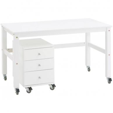 Rašomasis stalas ant ratukų, baltas
