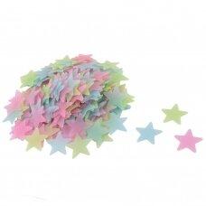 Šviečiančios žvaigždutės, spalvotos 100vnt