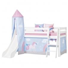 """Paaukštinta lova su čiuožykla ir bokštu """"Premium Unicorn"""" h-114cm"""