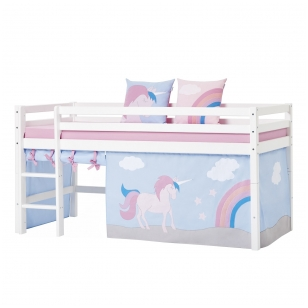 """Užuolaidėlės """"Vienaragis"""" paaukštinai lovytei h-105/114,cm arba dviejų aukštų lovai"""